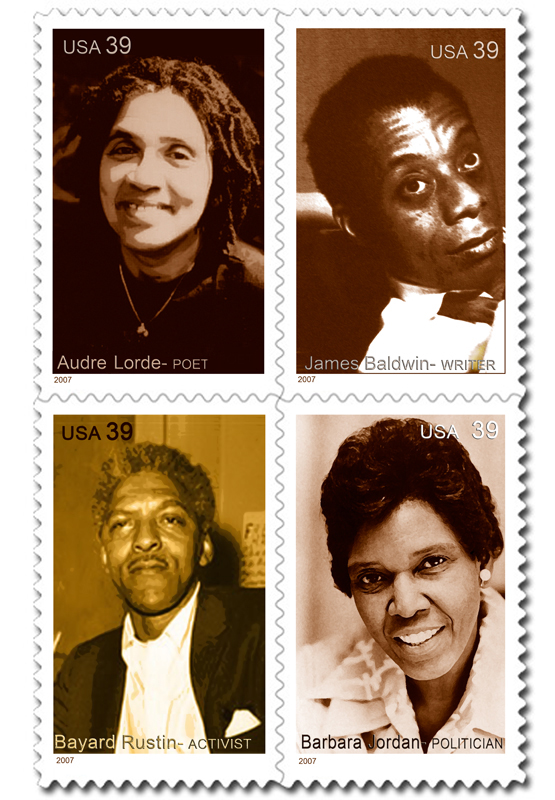 Audre Lorde - James Baldwin - Bayard Rustin - Barbara Jordan - Commemorative Stamps designed by © Frank H. Jump